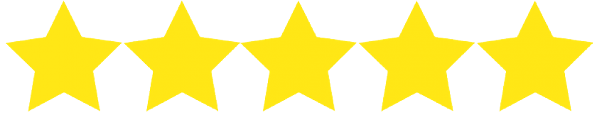 Five Stars in a Line Representing a Five Star Review